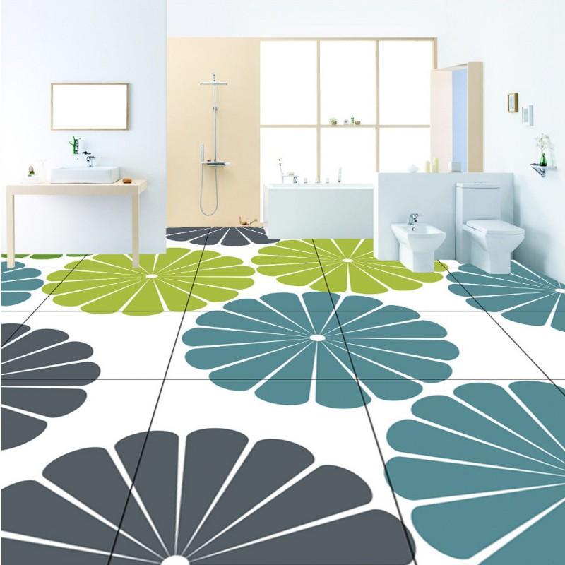 Freies Verschiffen Benutzerdefinierte Selbstklebende Dekoration  Boden Grafik Muster Blumen 3D Boden Wohnzimmer Tapete Wandbild